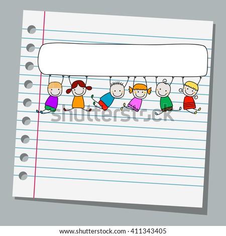 Notebook Paper Happy Kids Banner Stock Vector 411343405 - Shutterstock