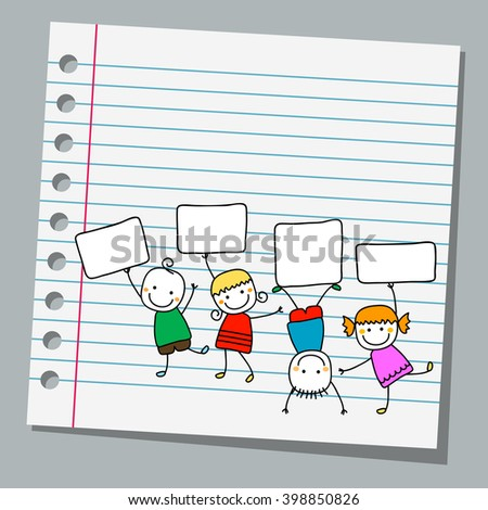 notebook paper happy kids with banners - stock vector