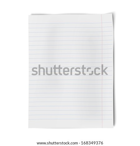 Notebook paper isolated on white background - stock vector