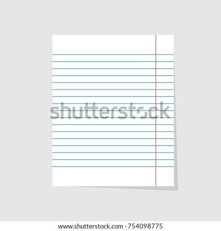 Notebook Paper. Realistic Vector Illustration Of Blank Sheet Paper In Lines  On A Gray Background  Blank Sheet Of Paper With Lines