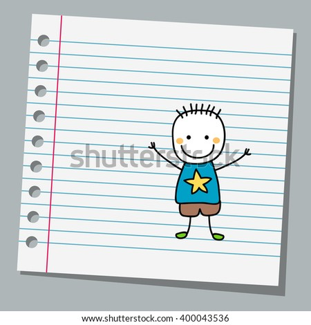notebook paper with little boy - stock vector