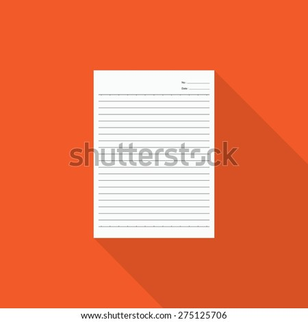 Notebook paper with long shadow  - stock vector