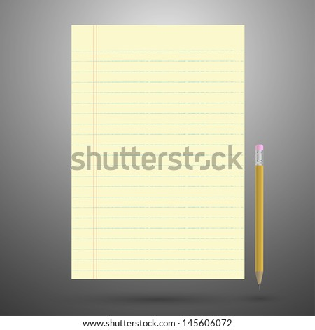 Notebook paper with pencil - stock vector