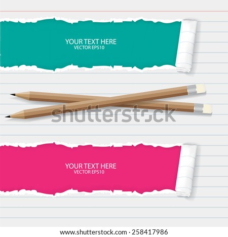 Notebook paper with pencils