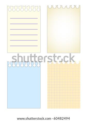 notebook sheets set pattern - stock vector