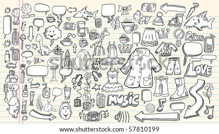 Notebook sketch Doodle Clip art Design Elements  Vector Illustration Set with music flowers cameras business speech bubbles tools - stock vector