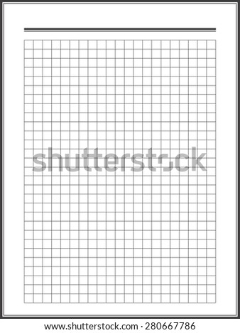 Notebook squared paper sheet - stock vector