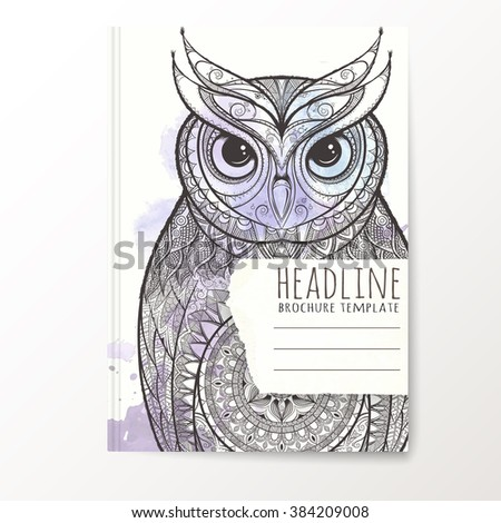 Notebook Template Hand Drawn Owl Vector Stock Vector 384209008 ...