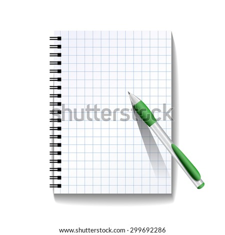 Notebook with a pen isolated on white background. Vector illustration - stock vector