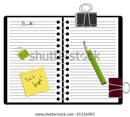 Notebook with a pencil and to-do list - stock vector