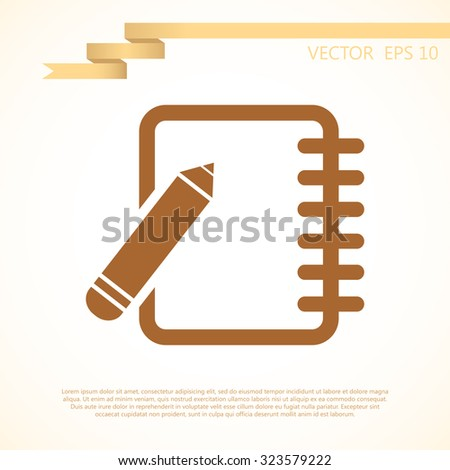 notebook with a pencil icon. vector illustration - stock vector