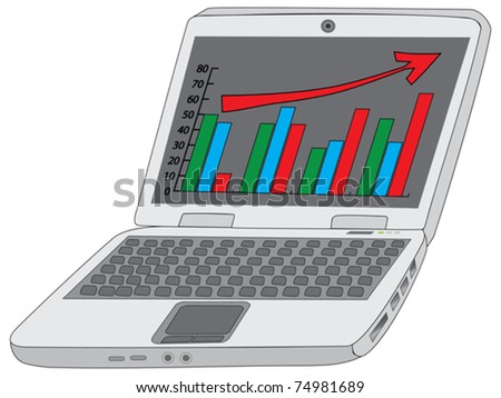 notebook with analytics diagram vector illustration