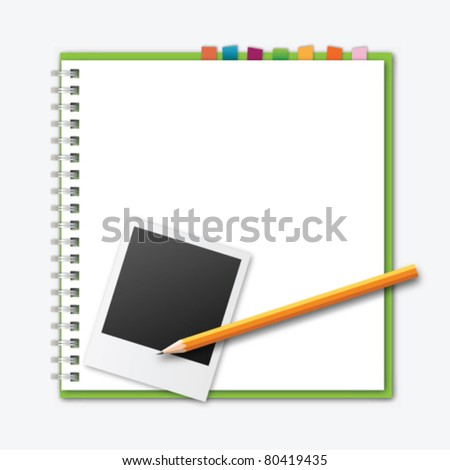 Notebook with book mark,pencil and instant photo - stock vector