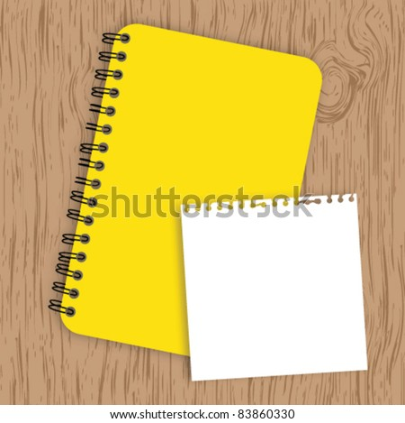 Notebook with paper on wood background - stock vector