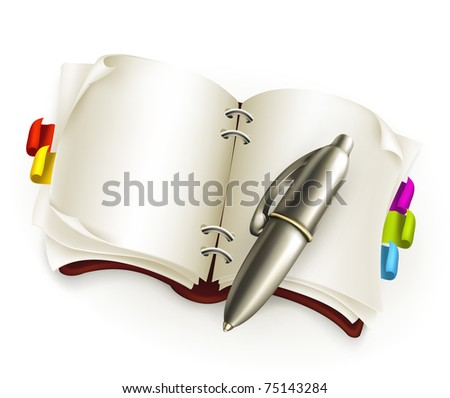 Notebook with pen, 10eps - stock vector