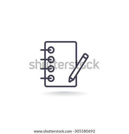 notebook with pencil. Icon - stock vector