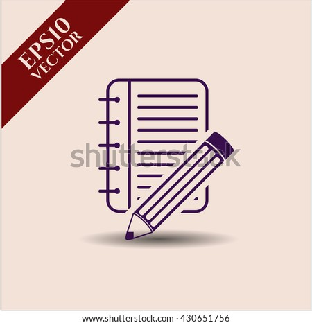 Notebook with pencil icon, Notebook with pencil icon vector, Notebook with pencil icon symbol, Notebook with pencil flat icon, Notebook with pencil icon eps, Notebook with pencil icon jpg - stock vector