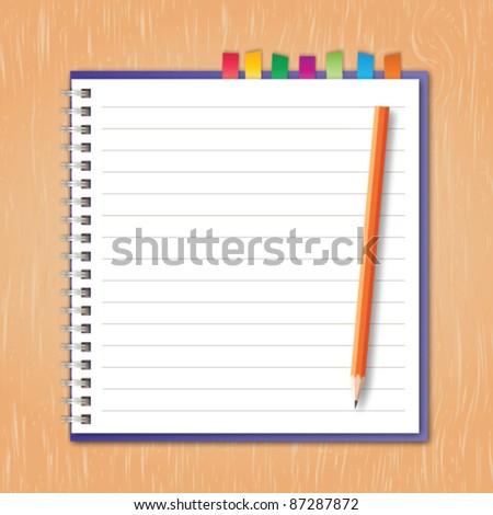 Notebook with pencil vector - stock vector