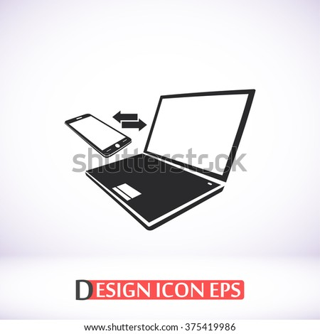 Notebook with phone sync symbo icon, Notebook with phone sync symbo pictograph, Notebook with phone sync symbo web icon, Notebook with phone sync symbo icon vector,  - stock vector