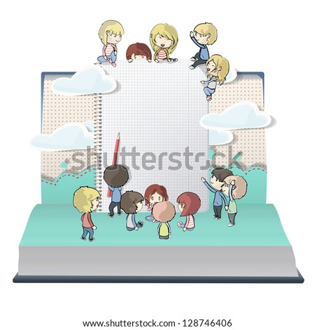 Notebook with several children printed on open book. Vector design. - stock vector