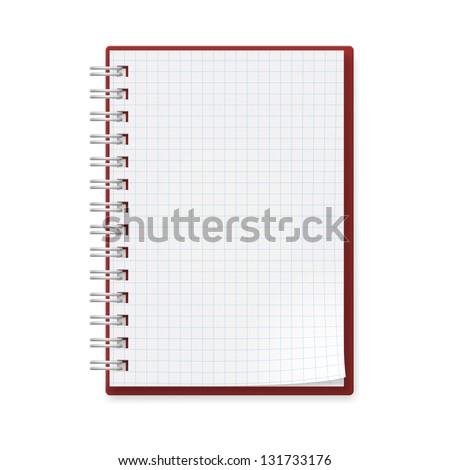 Notebook with sheets in a cage. Illustration on white background for creative design. - stock vector