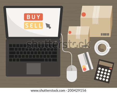notebook with shopping items on online shopping concept vector - stock vector