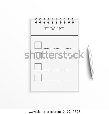 Notebook with to do list. Lines with check boxes and pen. checklist for note - stock vector