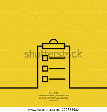 Notebook with to do list. Lines with check boxes. checklist for note. consent. check mark. election and voting.  minimal. Outline - stock vector