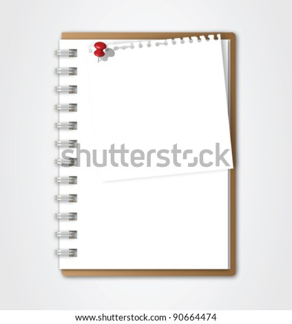 Notebook with Torn Paper Vector - stock vector