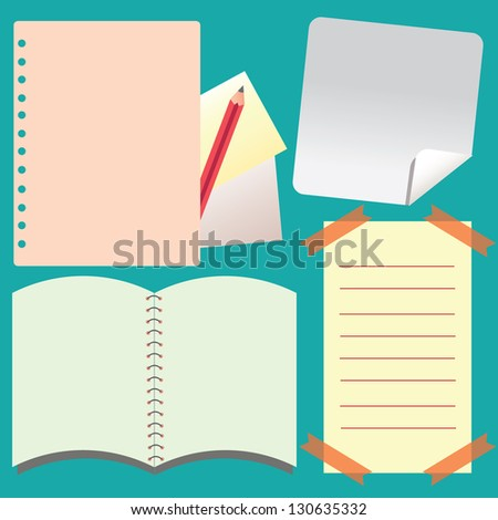 Notepad and Notebook paper isolated background , vector illustration