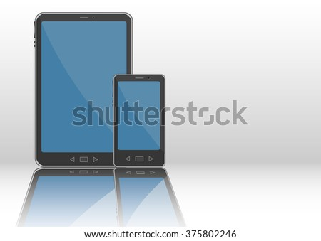 Notepad and smartphone. Wireless multimedia portable devices with wifi conexion - stock vector