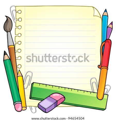 Notepad blank page and stationery 1 - vector illustration. - stock vector