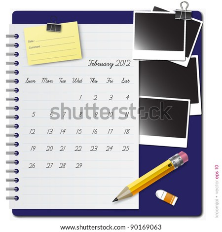 Notepad calendar 2012 February with photo frame and pencil - stock vector