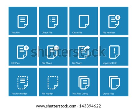 Notepad Document file and Note icons isolated on blue background. Vector Illustration. - stock vector