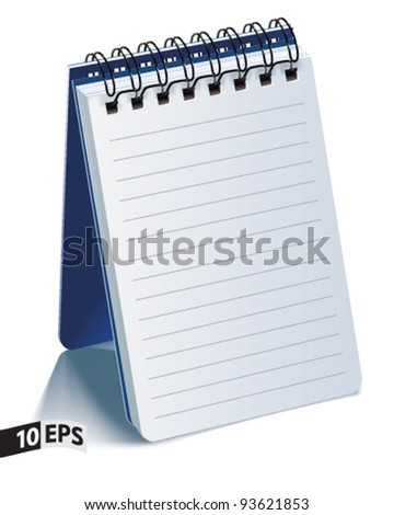 Notepad Isolated on White Background. Vector illustration - stock vector