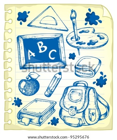 Notepad page with school drawings 1 - vector illustration.