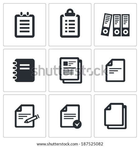 Notepad paper documents Icons set vector - stock vector