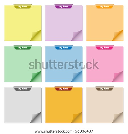 Notepad set in assorted colors with page curled up, clip at top of pad and ample copy space for text. Raster also available. - stock vector