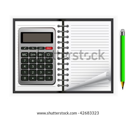notepad with calculator and pencil