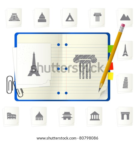 Notepad with icons - stock vector