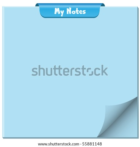 Notepad with page curled up, clip at top of pad and ample copy space for text. Raster also available. - stock vector