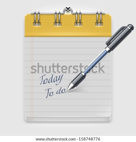 notepad with pen vector icon xxl - stock vector