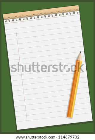 Notepad with pencil vector illustration