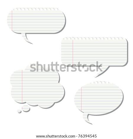 Notepaper speech bubbles - stock vector