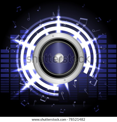 Notes and rays surround speaker and blue equalizers in the background - stock vector