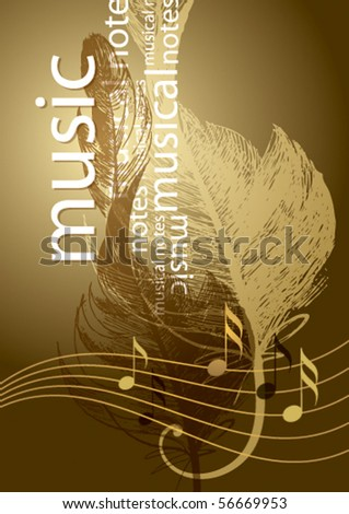 Notes and treble clef in the form of the bird's feather on the vintage background. - stock vector