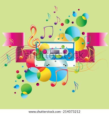 Notes, colorful spots & audio cassette - music design - stock vector