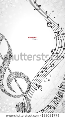 Notes music background - stock vector