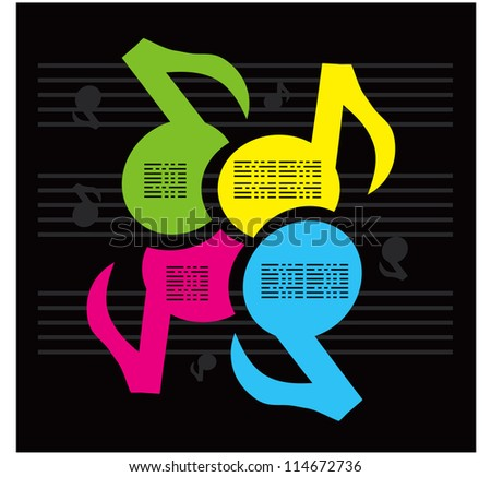 Notes Music colors background - stock vector
