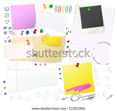 Notes, papers and Thumbtack - stock vector